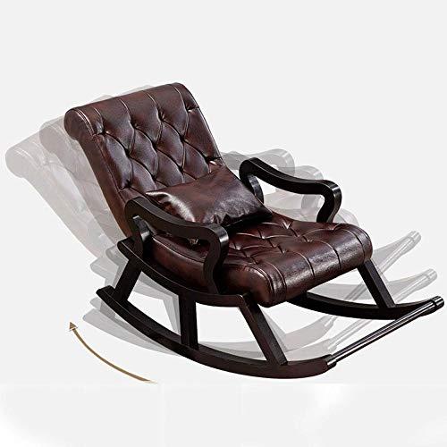 Schaukelstuhl für Erwachsene, Massivholz, Schaukelstuhl, Liegestuhl, amerikanisches Einzelbett, Lazy Leather Sofa Home Balkon Wohnzimmer Freizeit Licht