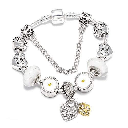 Estilo europeo pulseras de encanto para las mujeres corazón perlas ajuste pulsera día de San Valentín regalo romántico C01 19cm