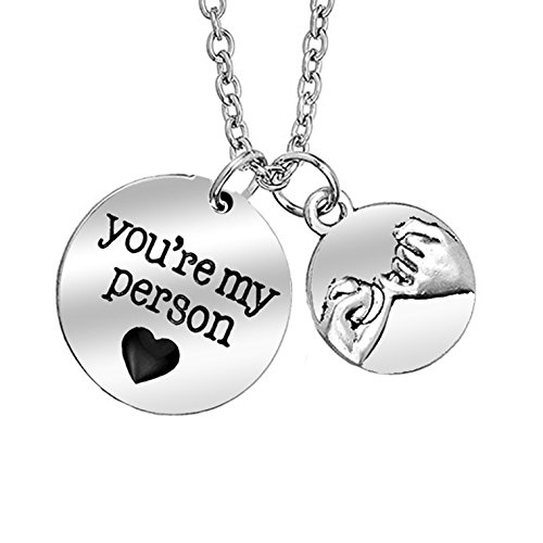 FEELMEM Greys Anatomy You Are My Person Necklace Pinky Promise Charm Jewelry Gift for Best Friend Girlfriend(You Are My Person Necklace)