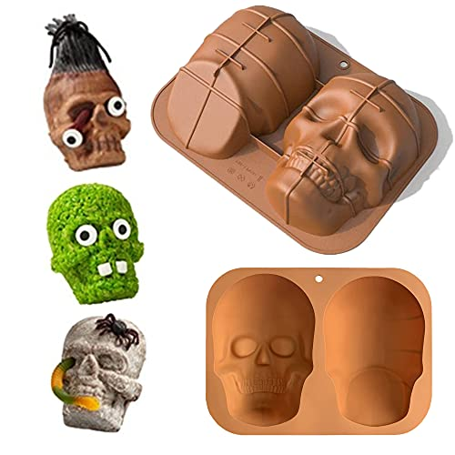 JTRF Soft 3d Skull Silicone Cake Mold,Large Skull Cake Pan for Halloween and Birthday Party,Haunted Skull Baking Cake Mold Make Halloween Party an Absolute Hit With Your Hungry Guests(1Pack)