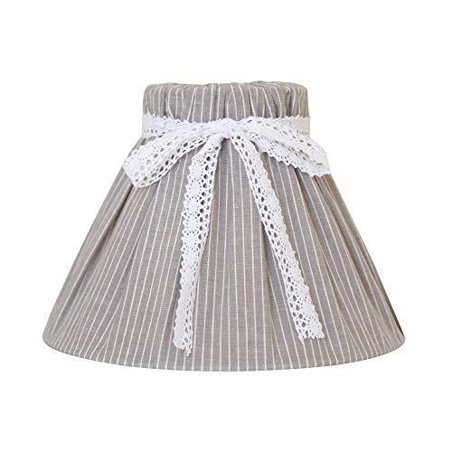 Kleiner Lampenschirm LINNEA grau weiß gestreift mit Schleife Tischlampe Hamptons E14 E27