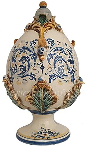 uova di pasqua inter sicilia bedda - Uovo di Pasqua in Ceramica di Caltagirone - Prodotto Realizzato Interamente a Mano -
