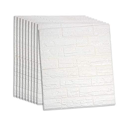 RAIN QUEEN クッションシート レンガ調 壁紙シール 防音シート 防水 ホワイト 壁紙 断熱 クッションブリック 部屋 壁 貼る のり付き 北欧 3D 立体 リビング 寝室 キッチン 洗面所 トイレ 発泡スチロール 70cm×77cm大判 無地 ク