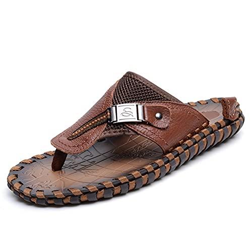 LSDTZ Sandalias Para Hombre Chanclas De Moda Zapatillas Para Hombre Sandalias Para El Hogar Zapatos De Verano Para Hombre De Cuero Sandalias Sandalias (Color : Brown, Size : 44yards)