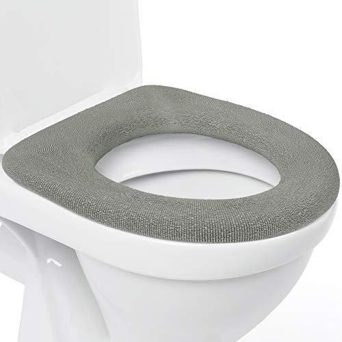 DIY Doctor Toilettensitzabdeckung – Superwarmes Fleece – Metall Sicherungsscheibe – Universalgröße - Maschinenwäsche (2 Grau)