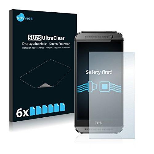 Savvies 6X Schutzfolie kompatibel mit HTC One M8 / M8s Bildschirmschutz-Folie Ultra-transparent
