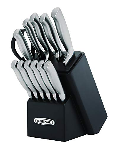 Farberware Self-Sharpening 13-Piece Knife Block Set with EdgeKeeper Technology, Black -
