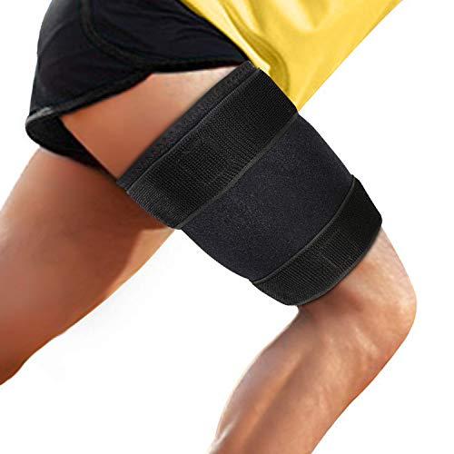 supregear Muslera, Soporte de La Abrazadera Del Muslo de Neopreno Hamstring Compression Thigh Sleeve Ajustable Upper Leg Compression Manga Pierna Más Delgado para Los Mujeres Hombres - Negro ✅