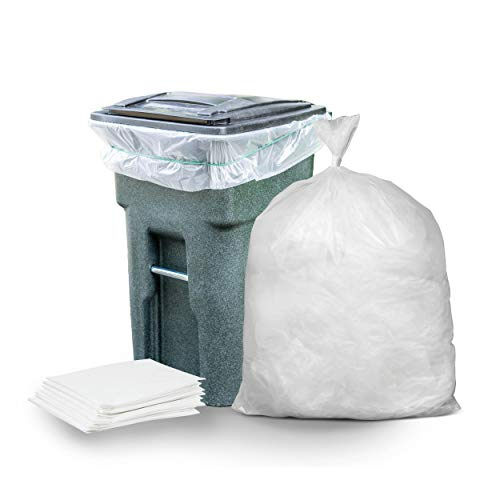 """Plasticplace 64-65 Gallon Trash Can Liners for Toter │ 1.5 Mil │ Clear Heavy Duty Garbage Bags │ 50"""" X 60"""" (50Count) (W65LDCTL)"""