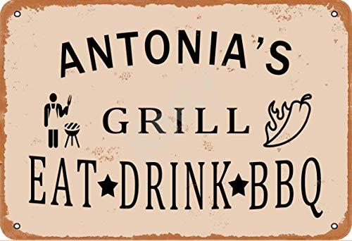 Keely Antonia'S Grill Eat Drink BBQ Metall Vintage Blechschild Wanddekoration 12x8 Zoll für Café, Bar, Restaurant, Pubs, Männerhöhle, Dekorativ