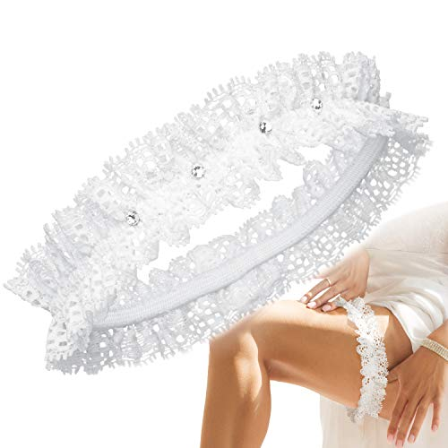 JK Trade BrautStyle® Deluxe Braut Strumpfband in Blau für Hochzeit in Einheitsgröße, Band verziert mit Schleife, Spitze und einem edlen Herz aus filigranen Strass-Steinen, 100% Handgefertigt (Ivory1)
