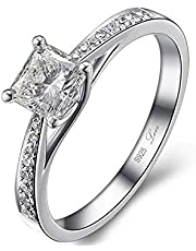 0.5 carat certified simulated diamond solid sterling silver solitaire ring (love engraved)- size 6.5