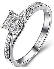خاتم 0.5 قيراط ألماس مصنع مصدق من الفضة الاسترلينية مختوم (حب) - قياس 6.5