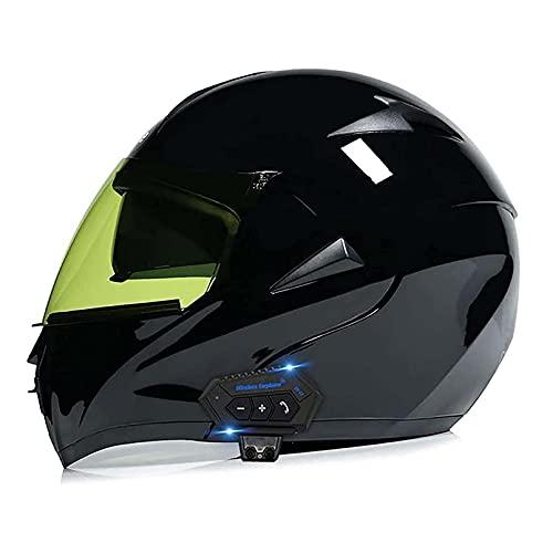 SCDJK Bluetooth Flip Up Casco De La Motocicleta, Dot Aprobado Anti-Niebla Visa Doble Modular Motorbike Motorbike Casco De Locomotoras Removible Foneje Lavable Seguridad Casco Bluetooth(Color:Negro)