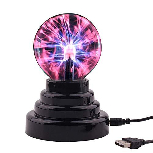TaiRi Magic Lightning Ball, lámpara de bola de cristal mágica de iones electrostáticos, lámpara de bola de plasma sensible al tacto con carga USB de 3 pulgadas para el dormitorio