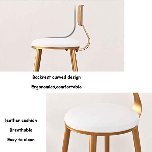 PIVFEDQX Dining Chair Dining Chair, Bar Stool High Chair Metal Kitchen Bar White Imitation Leather Pad Backrest (Size : 85CM)