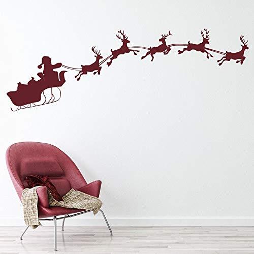JXND Rentier Santa Schlitten Urlaub Weihnachten Vinyl Wandaufkleber Home Interior Wohnzimmer Dekoration Wandaufkleber 221x75cm
