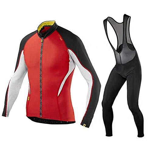 Winter Männer Langarmshirt Radtrikot Set, Quick-Dry Fahrradbekleidung Ganz Zipper mit 9D Trägerhose (Farbe: C, Größe: S) FACAI (Color : B, Size : XXXL)