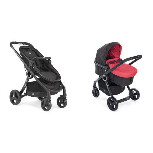 Chicco Urban plus -Carrito transformable en capazo y silla de paseo, color rojo