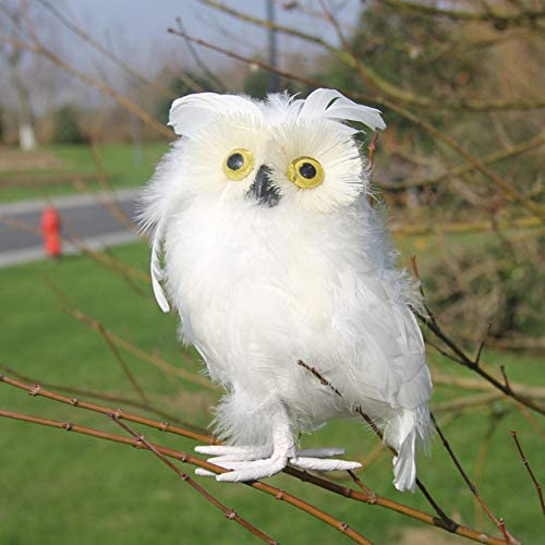 Artificial Feathered White Owl Christmas Ornament Decoration Adornment