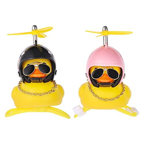 GOTH Perhk 2 Stück Gummi Gelb Ente Auto Ornament, Coole Fahrradglocke Dekorationen mit Propellerhelm für Erwachsene Kinder