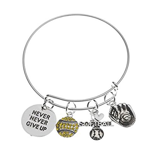 Softball Bracelet- Never Give Up Softball Jewelry -Gift for Softball Player, Team and Coaches Gifts