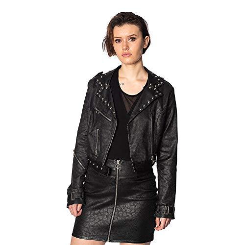 Banned Chaqueta Glam Goth con Tachuelas Imitación Piel - Negro M (Ropa)