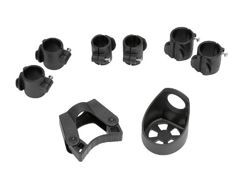 Stockhalter für Rollator und Rollstuhl Set für Gehstöcke,Gehhilfen und Krücken mit je 2 St. Rohrschellen 22mm,25mm,27mm