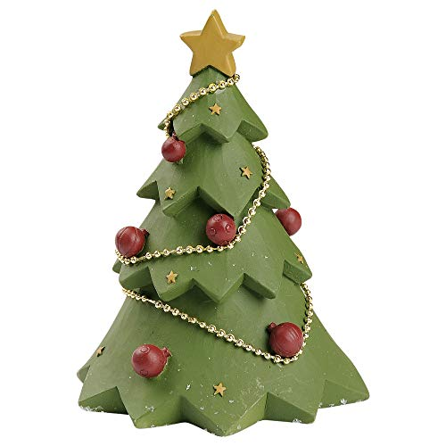 Blossom Bucket Decorated Tree 3.5 x 2.5 Inch Resin Stone Christmas Tabletop Figurine
