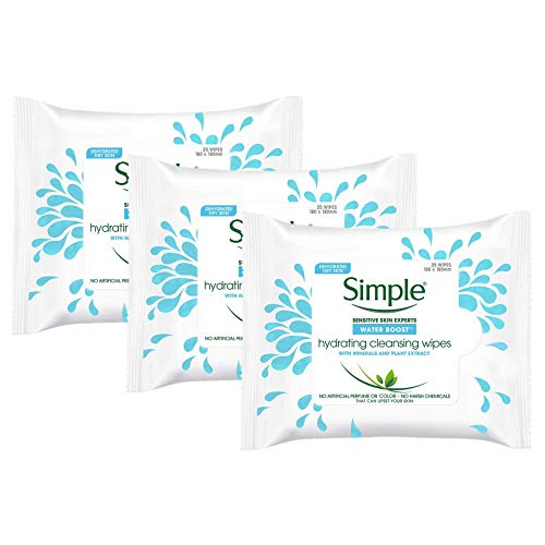Simple Water Boost Cleansing Wipes Hydrating Makeup Remover For Sensitive Skin, 25 Count (Pack Of 3)