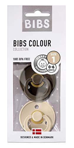 BIBS Schnuller Colour 2er Pack Größe 1 (0-6 Monate), Naturkautschuk, dänische Schnuller mit Kirschform (Chocolate/Vanilla, Größe 1 (0-6 Monate))