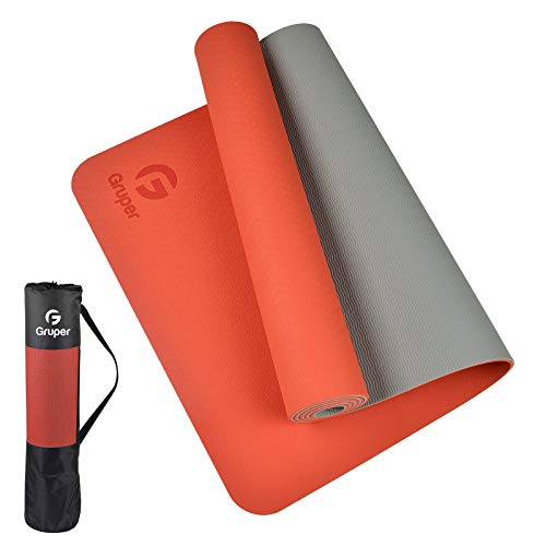 Gruper TPE Yoga Mat,Pro Yoga Mat Eco Friendly Non Slip Fitness Exercise Mat with Carrying Strap,Workout Mat for Yoga, Pilates and Floor Exercises (Orange + Grey, Thickness-6mm(1/4 inch))
