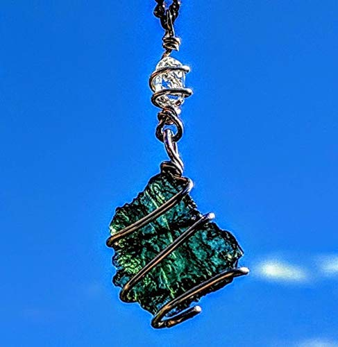 Moldavite &Amp; Herkimer Diamond Necklace Wire Wrap 925 Silver! 19&Quot; Metaphysical Reiki Amulet Synergy 12 Genuine Crystal Pendant Tektite Meteorite!