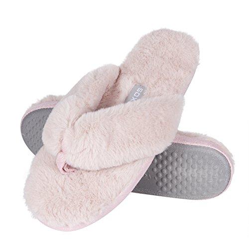 soxo Damen Elegantes Hausschuh | Frauen Plüschfell Fluffy Flip Flops | Pelz Pantoffeln in 2 Farben (35-36 EU, Pink)