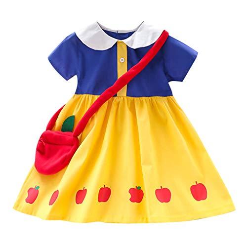 Battnot Mädchen Kleinkind Kinder Baby Sommer Kleid Kurzarm Apfeldruck Party Prinzessin Kleider + Tasche Set 2 Stück Kleidung Baby Girl Outfits Gelb 3-4 Jahre 4-5 Jahre 5-6 Jahre 6-7 Jahre 2-3 Jahre