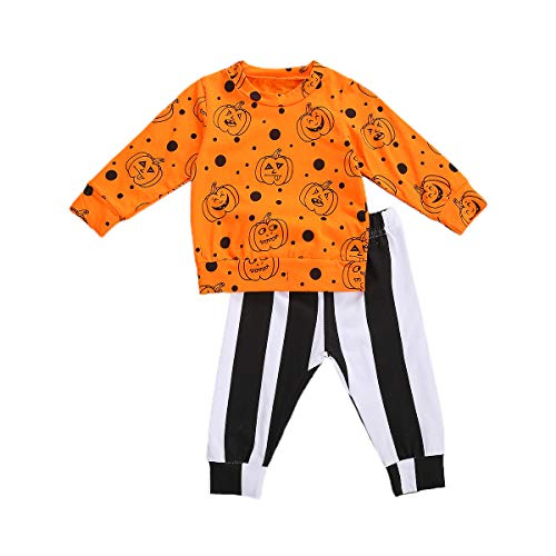 2Pcs Toddler Infant Baby Boy Clothes Long Sleeve T-Shirt Top Pants Leggings Halloween Outfits Set (Pumpkin, 18-24 Months)