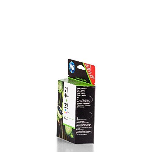 Original de tinta para HP Deskjet F 380Series HP Nr 21& NR 22sd367ae445–2x Premium Impresora de tinta–Negro, Cian, Magenta, Amarillo–360páginas