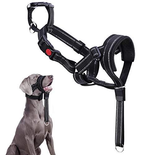 VavoPaw Hundehalfter, Verstellbar Halfterhalsband Atmungsaktive Hundegeschirren Nylon Hundeband mit Reflektierendem Riemen Kopfkragen für Groß Hunde Beisen Bellen und Kauen Verhindernd, Schwarz