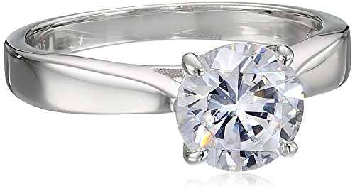 Charles Winston, Sterling Silver, Cubic Zirconia, 8.0mm Round CZ Ring, 2.00 ct. tw., Size 6