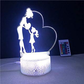Lámpara de ilusión 3D como madre niña, love you daughter, LED luz nocturna, 7 colores intermitentes, decoración de dormitorio, regalo, lámpara de noche decorativa