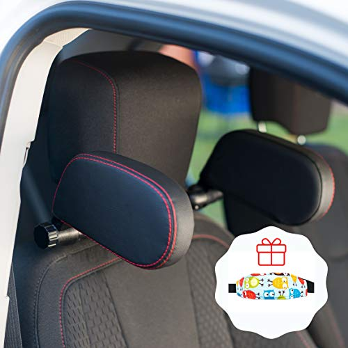 car Headrest Pillow Road Pal Headrest Adjustable Car Seat Head Neck Support U Shaped Car Sleeping Pillow for Kids Leather