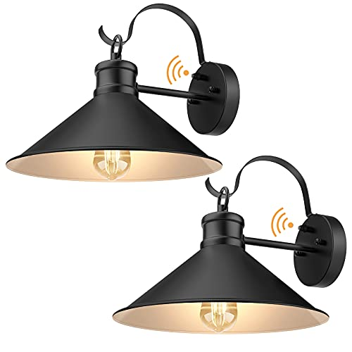 Dusk to Dawn Outdoor Wall Light, Porch Light Fixtures with Matte Black Shade, Outdoor Wall Sconces...