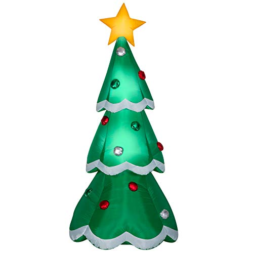 Gemmy 7' Airblown Mixed Media Metallic Christmas Tree Inflatable