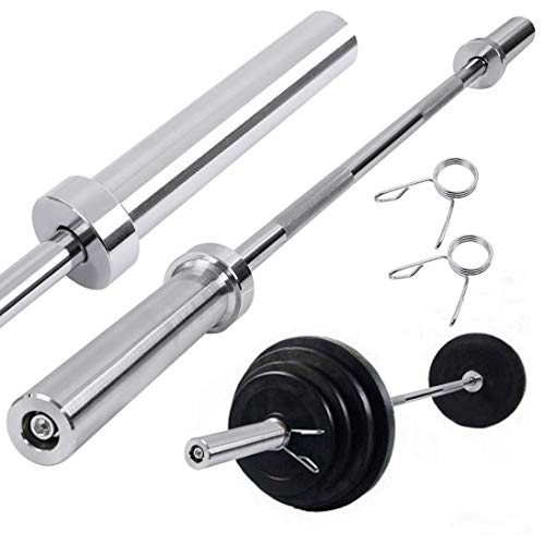 5Ft Olympic Barbell Bar Weightlifting Bar Straight , 2 inch Bar Standard Weightlifting, Weight Bar Workout Equipment with 2 Spring Collars for Cross Training Weight Lifting Home Gym