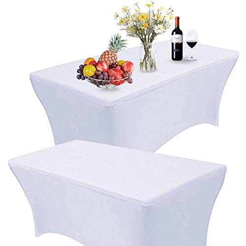 Jolitac 2 x Stretch Tischdecke Tischhusse Tischcover Hussen für Hochzeit Event 6FT Picknicktisch 183 x 76 x 76cm (Weiß)
