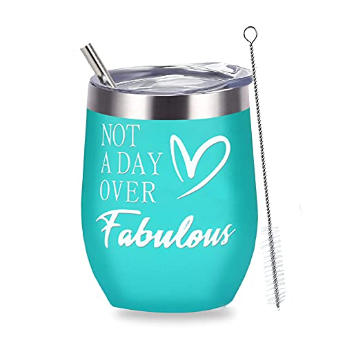 Birthday Gifts for Women, Wine Tumbler Gifts for Women, Vacuum Coffee Tumbler, Stainless Steel Insulated Tumbler with Lid and Straw, Muzpz 12oz Retirement Wine Tumbler Coffee Mug (BlueGreen)