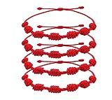 Pack de 4 Pulseras Roja 7 Nudos Amuleto de Hilo Rojo Pulsera de la Suerte y Protección es Unisex, Ajustable que Aporta Buena Suerte Pulsera Amistad, Familia, Pareja