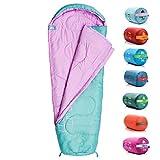 meteor Saco de Dormir Tipo Momia - Ideal para niños en Viaje, Camping, Festival o alojamiento en Hotel Acampada Senderismo al Aire Libre Portátil con Saco de Compresion YMER (Menta/Rosa)