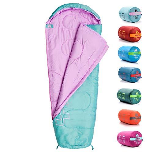 meteor Premium Kinder-Schlafsack Sommer Ultra-leicht Kinder Hüttenschlafsack Komfortbel Jugendliche Camping Deckenschlafsack Outdoor Herbst inlett Schlafsack Baby Mini Sleeping Bag (Mint/pink)