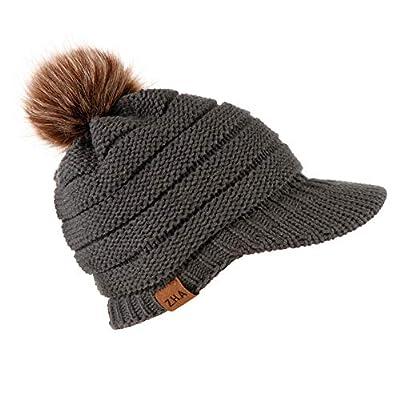 LEXUPA Adult Women Men Winter Crochet Hat Knit Hat Baseball Cap Hairball Warm Cap